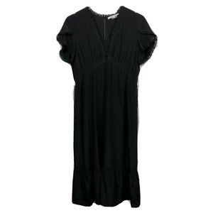Gerard Darel Dress 8 Womens Black Silk Short Sleev